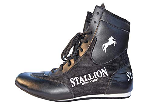 Stallion All Pro Boxing Shoes - Classic Crusader Series - Superior Mid Tops - State-of-The-Art Quality (10, Black)