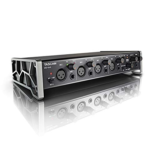 Tascam US-4x4 USB Audio/MIDI Interface with Microphone Preamps and iOS Compatibility (Best 4 Channel Audio Interface)