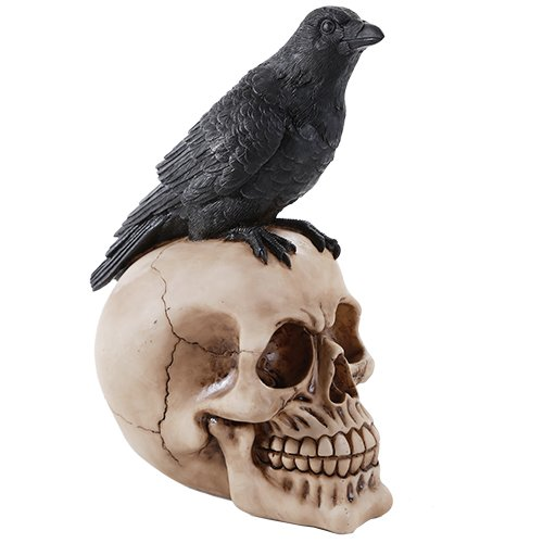 Perched Raven On Skull Poe Raven Figurine Halloween Home Decor Gift]()
