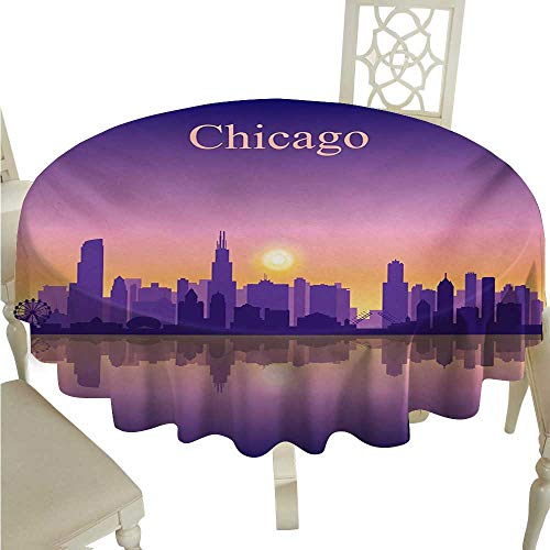 (Chicago Skyline Round Polyester Tablecloth Sunset in Illinois American Horizon behind High City Silhouettes Washable Polyester - Great for Buffet Table, Parties, Holiday Dinner, Wedding & More)