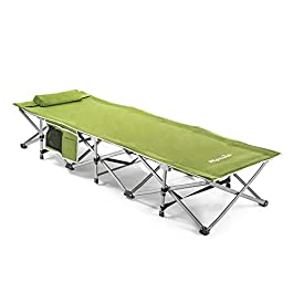 Alpcour Folding Camping Cot – Extra Strong Single Person Small-Collapsing Bed in a Bag w/Pillow for Indoor & Outdoor Use…