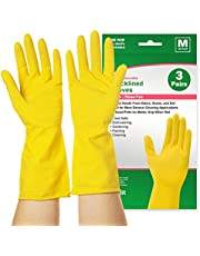 Reusable Dishwashing Gloves 3 Pairs, squish Rubber Cleaning Gloves for Kitchen Cleaning, Working, Painting, Gardening