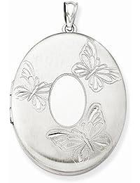 Solid 925 Sterling Silver 3 Butterflies 34mm Oval Locket Opens Engravable Pendant (3mm)28mm Width)