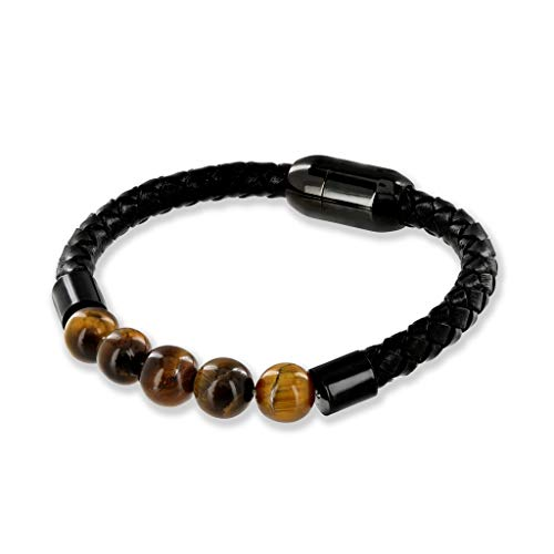 Believe London TE Gemstone Bracelet Healing Bracelet Chakra Bracelet Anxiety Crystal Natural Stone Men Women Stress Relief Reiki Yoga Diffuser Semi Precious (Tiger Eye Magnetic Clasp 7