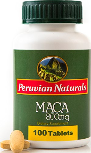 Peruvian Naturals Maca 800mg - 100 Tablets | Made with Raw Maca Root Powder from Peru for Energy and Fertility - Root 100 Tablets
