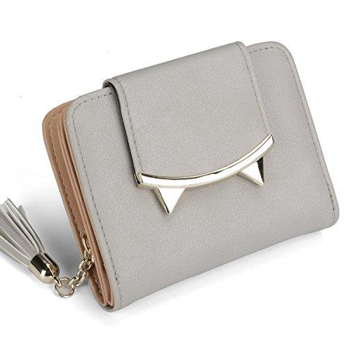 Women Cute Cat Mini Wallet Design Coin Purse leather Wrist Strap (Gray)