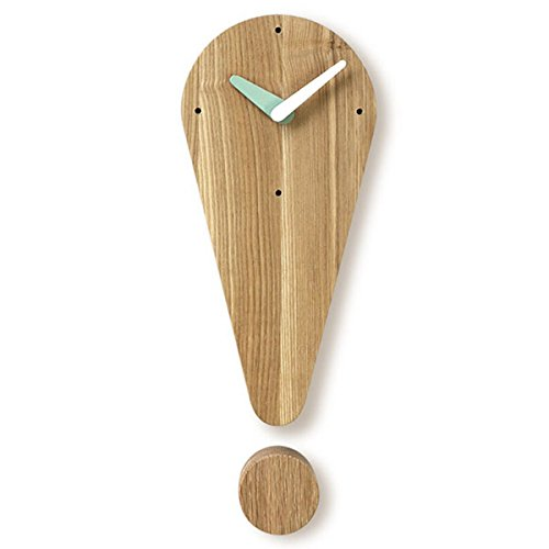 Amazon.com: Brown Ash Wood Exclamation Mark Design Non-Ticking Silent Wall Mount Hanging Art Home Deco Quartz Analog Clock (White): Home & Kitchen