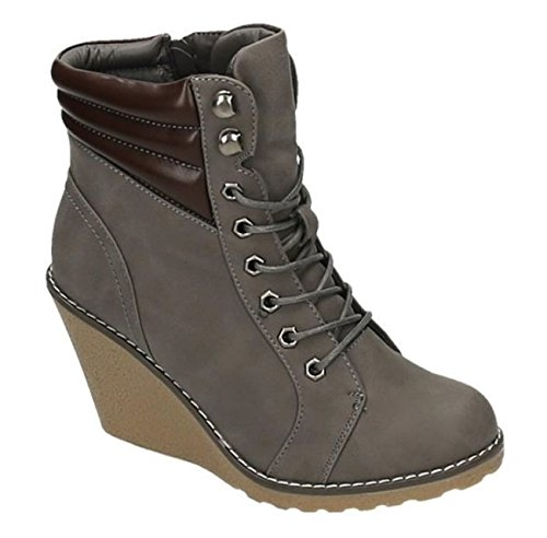 King Of Shoes Bequeme Damen Stiefeletten Keilabsatz Wedges Ankle Boots Kurzschaft Schnürstiefel 173 Grau