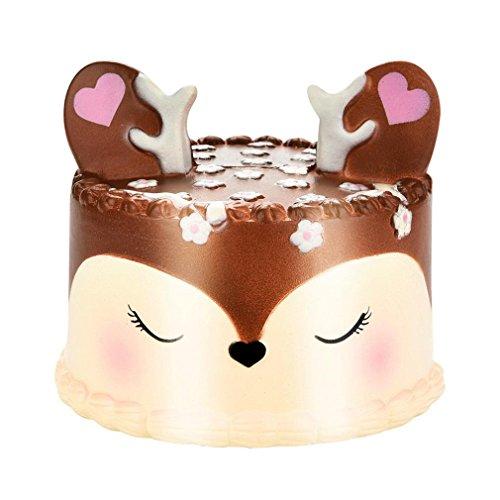 Hunzed Kawaii Jumbo Cartoon Deer Cake Squishy Slow Rising Cream Scented Stress Reliever Toys (B) (Cartoon Cake)