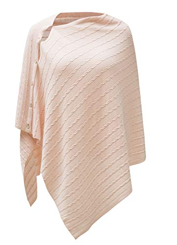 Womens Cable Pattern Lightweight Kintted Poncho Sweater with Shell Button, Versatile Scarf Shawl Cape for Spring Summer Autumn, Petal Pink