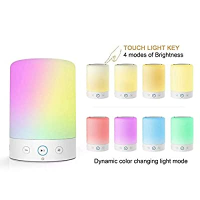 Bluetooth Speaker - Night Light Portable Lamp Speakers With Smart Touch Control – Set the Mood Premium LED Light Bedside Desk Lamp For Bedroom, Lounge, Camping, Travelling AUX-IN Supported …