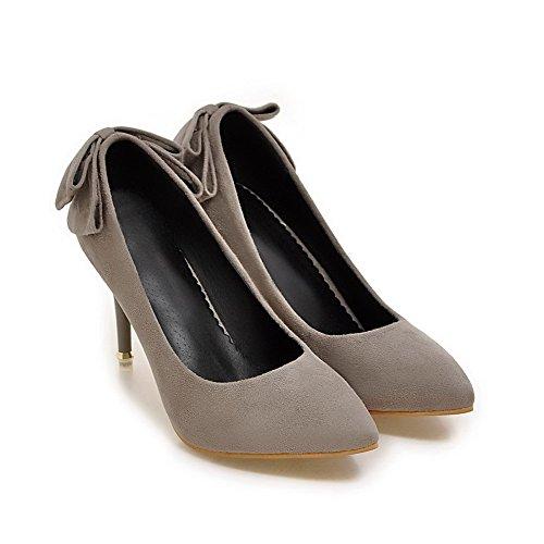 AllhqFashion Damen Hoher Absatz Mattglasbirne Rein Ziehen auf Spitz Zehe Pumps Schuhe Grau