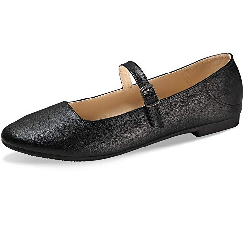CINAK Flats Mary Jane Shoes Women's Casual Comfortable Walking Buckle Ankle Strap Fashion Slip On(7-7.5 B(M) US/ CN39 / 9.5'', Black)