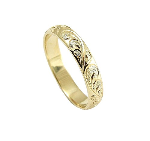 14K yellow gold custom hand engrave Hawaiian queen plumeria scroll band ring 4mm size 7 by Arthur's Jewelry (Image #2)