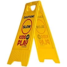 """Kids Playing Safety Sign (Double-Sided) - """"Caution, Slow, Kids at Play"""""""