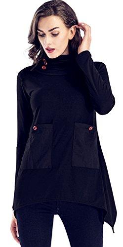 Arctic Cubic High Mock Neck Turtleneck Button Side Pocket Front Irregular Hem Side Split Slit Sweatshirt T-Shirt Tee Top Black M