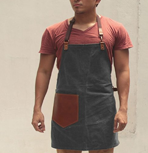 Handmade Waxed Canvas Apron with Leather Straps | Water Resistant Artisan Aprons by Gouache (Asphalt Grey) by Gouache Waxed Canvas and Leather Artisan Apron