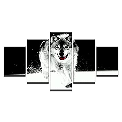 Tela stampe HD Poster Home Wall Art 5 pezzi animale lupo di neve le ...
