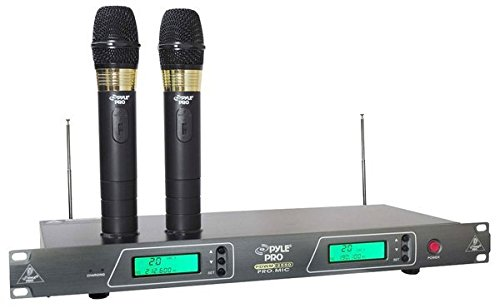 pyle pro pdwm2550 19 39 39 rack mount dual vhf wireless rechargeable handheld microphone system. Black Bedroom Furniture Sets. Home Design Ideas