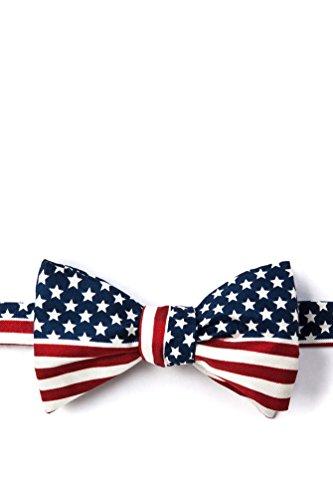 Navy Blue Silk Bow Tie | American Flag Self Tie Bow -