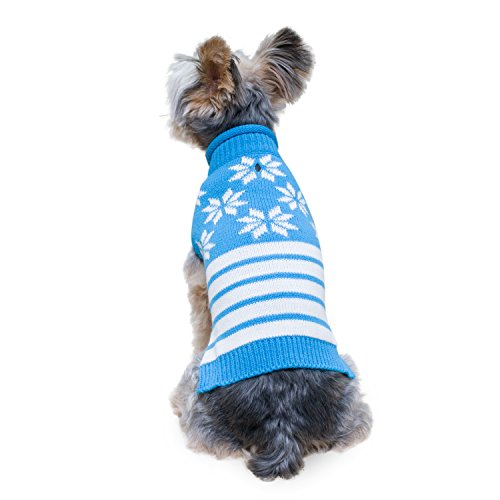 (Stinky G Blue snowflakes Sleeveless Dog Pet Sweater Small #10)