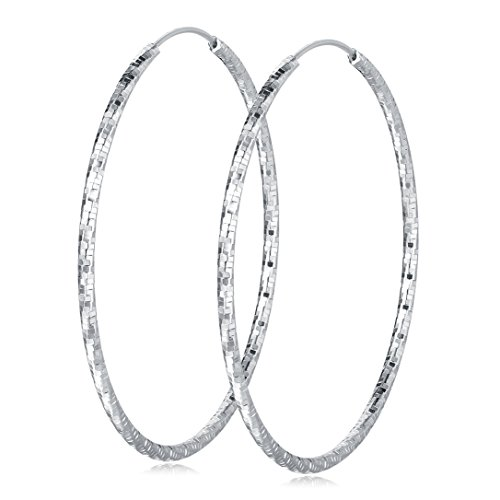 Carleen 925 Sterling Silver Small Circle Endless Hoop Earrings For Women, 30mm (Earring Hoop Set Half)