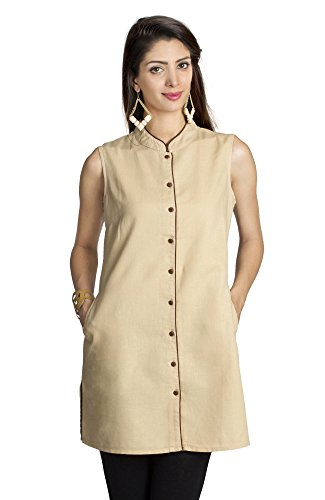 MOHR Women's Tunic Shirt with Mandarin Collar Medium Beige by MOHR - Colors of India