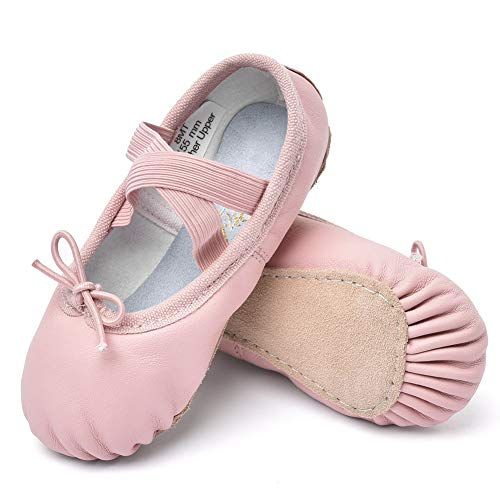 STELLE Girls Premium Leather Ballet Shoes Slippers for Kids Toddler (13.5ML, Pink) -