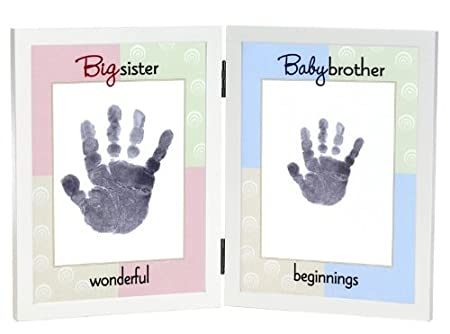 Big Sister and Baby Brother Hand Print Frame by Grandparent Gift ...