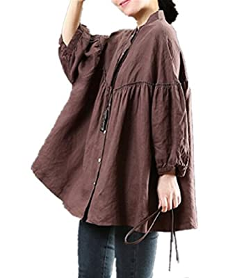 YESNO WA0 Women Casual Loose Blouse Button-Down Swing Shirts Gathered High Low Bat-Wing Sleeve