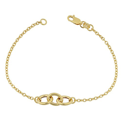 Kooljewelry 14k Yellow Gold Triple Oval Link Bracelet (7 ()