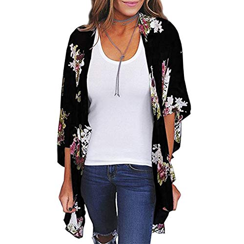 (Zando Women's Floral Print Kimono Cardigans Summer Loose Puff Sleeve Open Front Cover Up Casual Blouse Tops Black XX-Large)