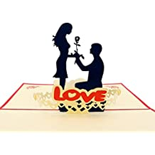IShareCards Handmade 3D Pop Up Greeting Cards for Valentines,Lovers,Couple's / Valentines day Gifts (Say LOVE)