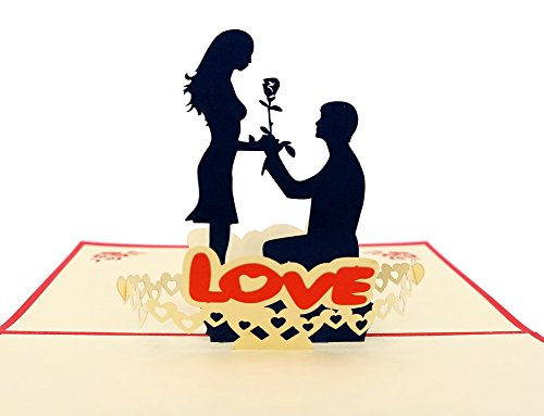 IShareCards Handmade 3D Pop Up Greeting Cards for Valentines,Lovers,Couples/Valentines day Gifts (Say LOVE)