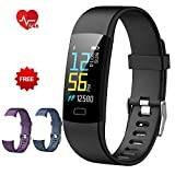 Fitness Tracker, Heart Rate Monitor Waterproof Smart Activity Tracker with Sleep Tracker Step Calories Counter Pedometer Sport Watch Wristband for Kids Women and Men(Black+Purple+Blue Band)