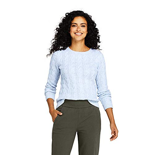 - Lands' End Women's Drifter Cotton Cable Knit Sweater Crewneck, XS, Muted Blue Donegal