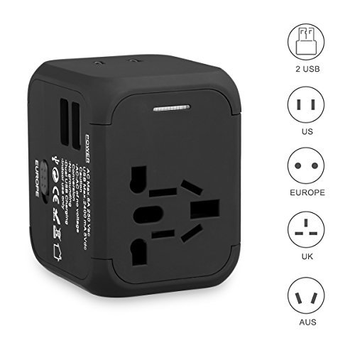 - FLOUREON Universal Travel Power Adapter USB Wall Charger Outlet Plug All-in-one International Power Adapter with 2.4A Dual USB Charger for UK, EU, AU, Asia Covers 150+Countries,Black+Surge Protection