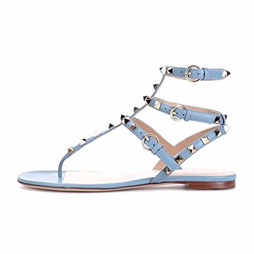 Chris-T Women's Leather Studded Sandals T-Strap Slingback Flats Backless Flip-Flops Dress (Cute Flat Sandals)