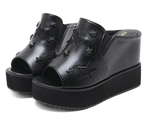 Shoes Toe LINYI Open Black Slippers Women's Soled Mules Wedge Casual Thick Sandal xqWw146vqU