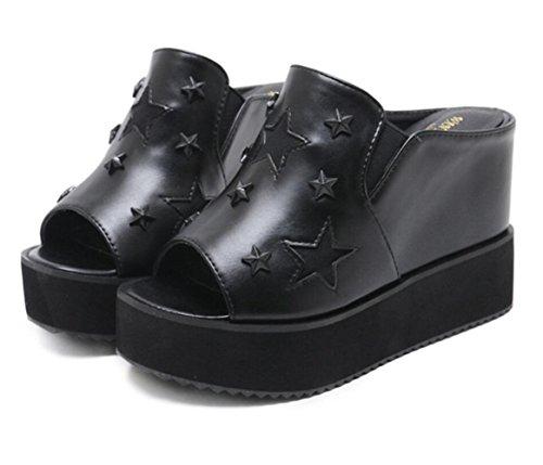 Bout Compensés pour Talons Décontractées Sandales à Chaussures Ouvert Mules Et à Semelle Femmes épaisse Black LINYI à CUH7xwqT