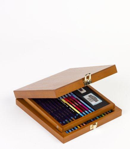 Derwent Watercolor Pencil Box (Derwent Colored Pencils, Watercolor, Water Color Pencils, Drawing, Art, Wooden Box, 32 Count (0701076))