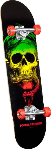 Powell-Peralta Blacklight Skull and Snake Complete Skateboard, Red