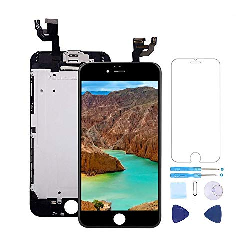 For iPhone 6S Screen Replacement LCD Black - with [ Proximity Sensor] [ Ear Speaker] [ Front Camera] [ Repair Tools] Display Touch Digitizer Frame Assembly Full Repair Kit (Bottom Of Iphone 6s Screen Not Working)