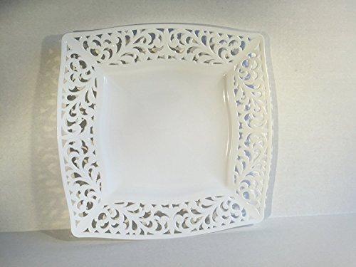 Collection Pierced Premium Heavyweight Plastic 8 inches Side Plates Set of 10 White Color with Cut Out Pattern