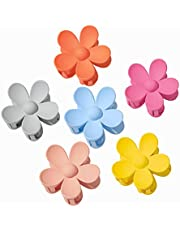 YAIKOAI 6 Pieces Small Acrylic Hair Claw Clips Flower Shaped Plastic Jaw Clips Non Slip Tortoise Hair Clamps Barrette Hair Accessories for Women Girls Headwear, 6 Colors