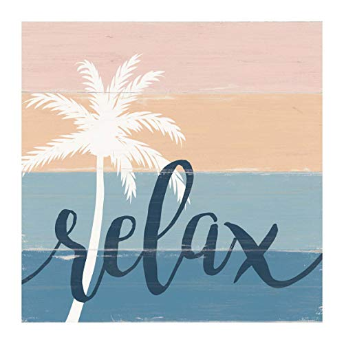 P. Graham Dunn Relax Palm Tree Ombre Ocean Sunset 3 x 3 Wood Tabletop Word Block Plaque