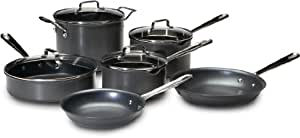 Emeril by All-Clad E920SA64 Hard Anodized Nonstick with Pouring Spouts Scratch Resistant 10-Piece Cookware Set, Black