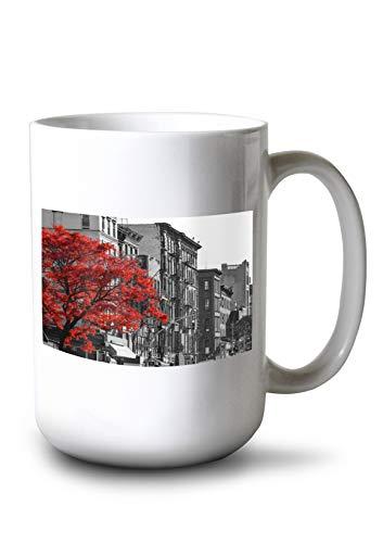 Lantern Press Red Tree in New York City Black and White Photography A-90888 (15oz White Ceramic Mug)