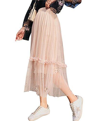 DianShaoA Femme Longue Fluide Taille Haute Jupe Jupe Tulle Plisse avec Perles Abricot