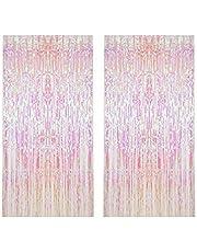قطعتان من رقائق القصدير هامش شفافة بيضاء خلفية معدنية مزخرفة ستارة نافذة الباب لتزيين حفلات أعياد الميلاد وحفلات الزفاف